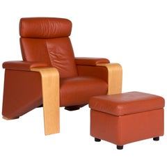 Stressless Pegasus Leather Armchair Terracotta Brown Incl. Stool