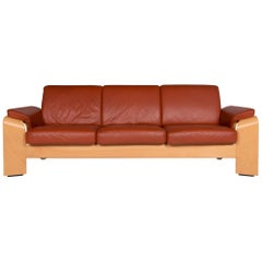 Stressless Pegasus Leather Sofa Terracotta Brown Three-Seat Couch