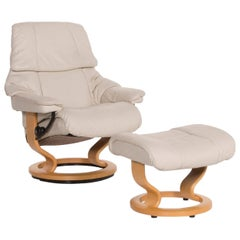 Stressless Reno Leather Armchair Cream Armchair Set Including Relax Function