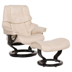 Stressless Reno Leather Armchair Cream Incl. Stool