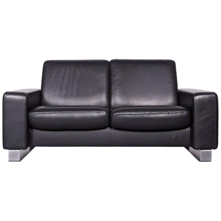 Stressless Space Designer Leather Sofa Black Genuine Leather Two-Seat Couch