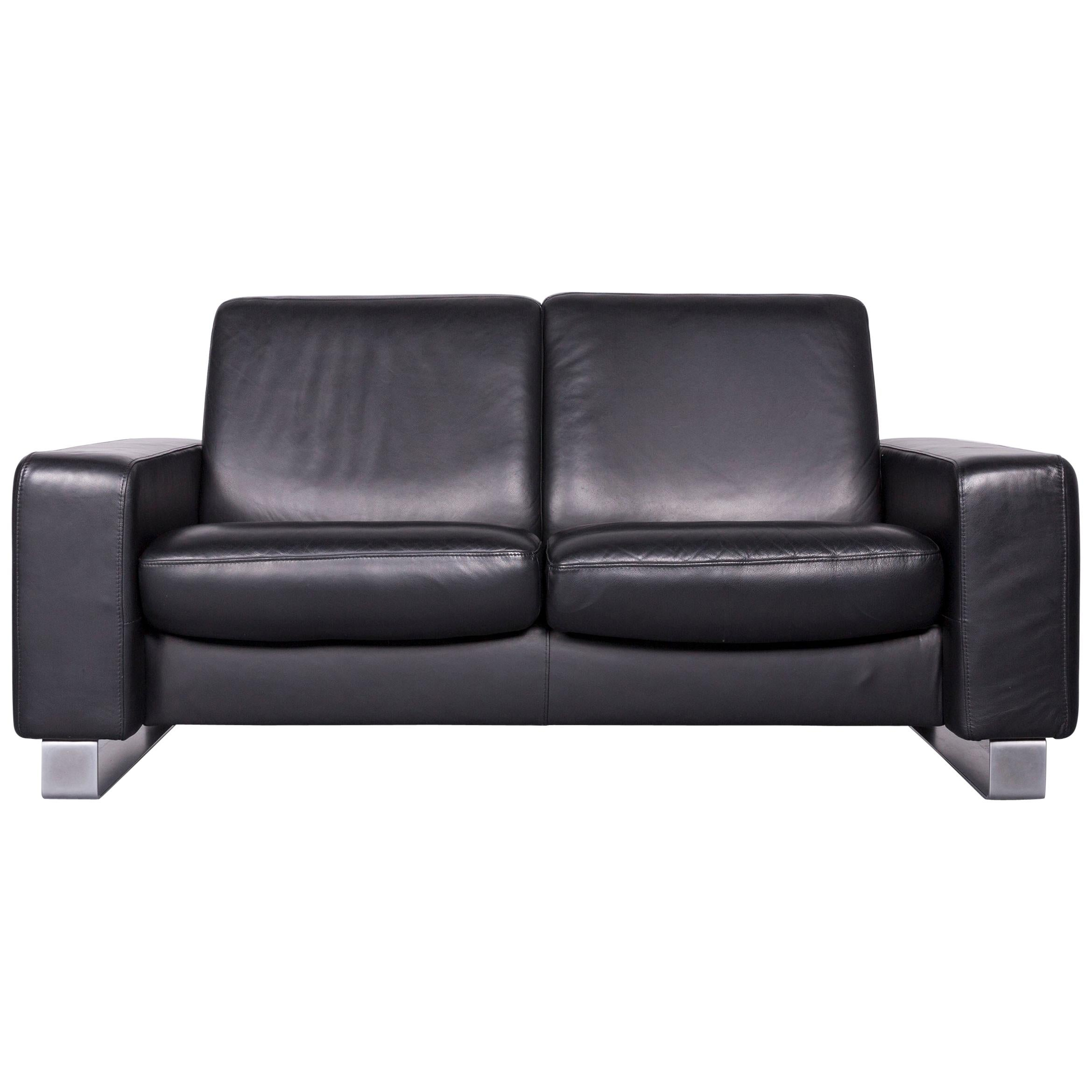 Stressless Space Designer Leather Sofa Black Genuine Leather Two Seat Couch