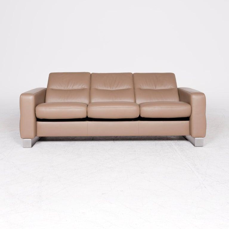 Stressless Wave Designer Leather Sofa Beige Genuine ...