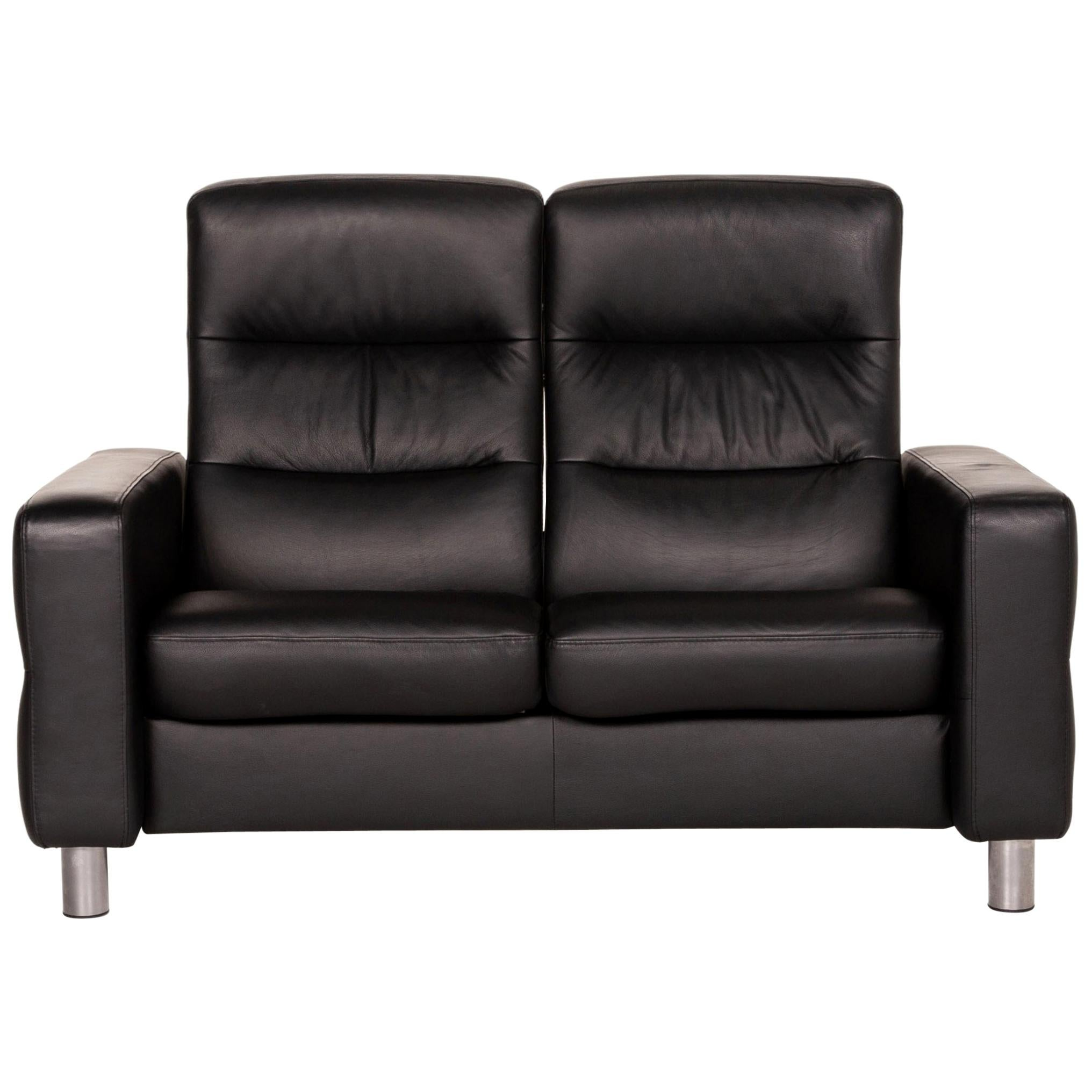 Stressless Wave Leather Sofa Black Two-Seater Function Relax Function Couch