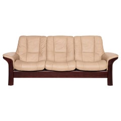 Stressless Windsor Leather Sofa Beige Three-Seater Relax Function