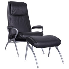 Stressless You James Designer Leather Armchair with Foot-Stool in Black