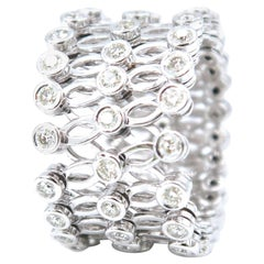 Stretchable Diamond White Gold Band Ring Bangle Arthritis Suitable Comfort