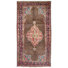Stretched Medallion and Lattice Design Vintage Persian Serab Rug in Brown, Red