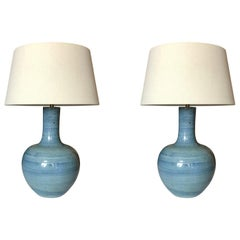 Striated Blue Pair of Lamps, China, Contemporary