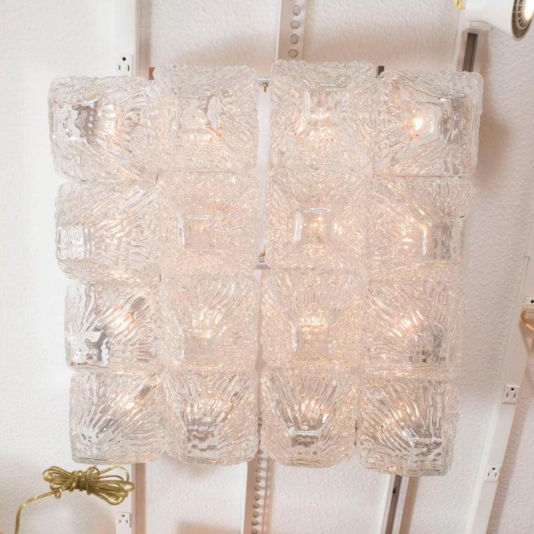 Italian Striated Glass Element Flush Mount For Sale