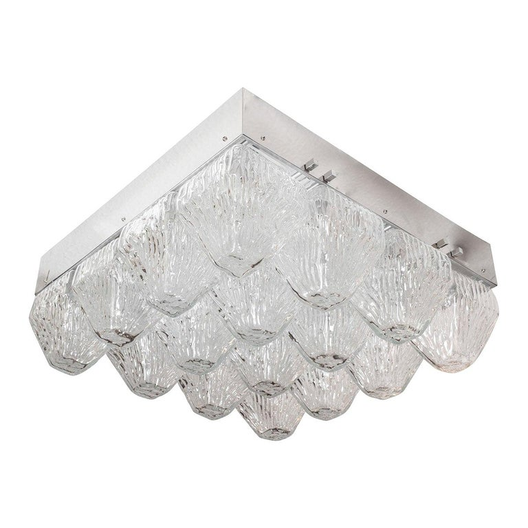 Striated Glass Element Flush Mount For Sale