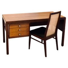 Stricking American Walnut and Cane Midcentury Desk and Chair