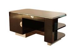 Strict Bauhaus Desk, Black Lacquer and Chrome, Germany circa 1930
