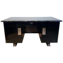 Strict Bauhaus Desk, Black Lacquer with Metal Parts, Germany, circa 1930
