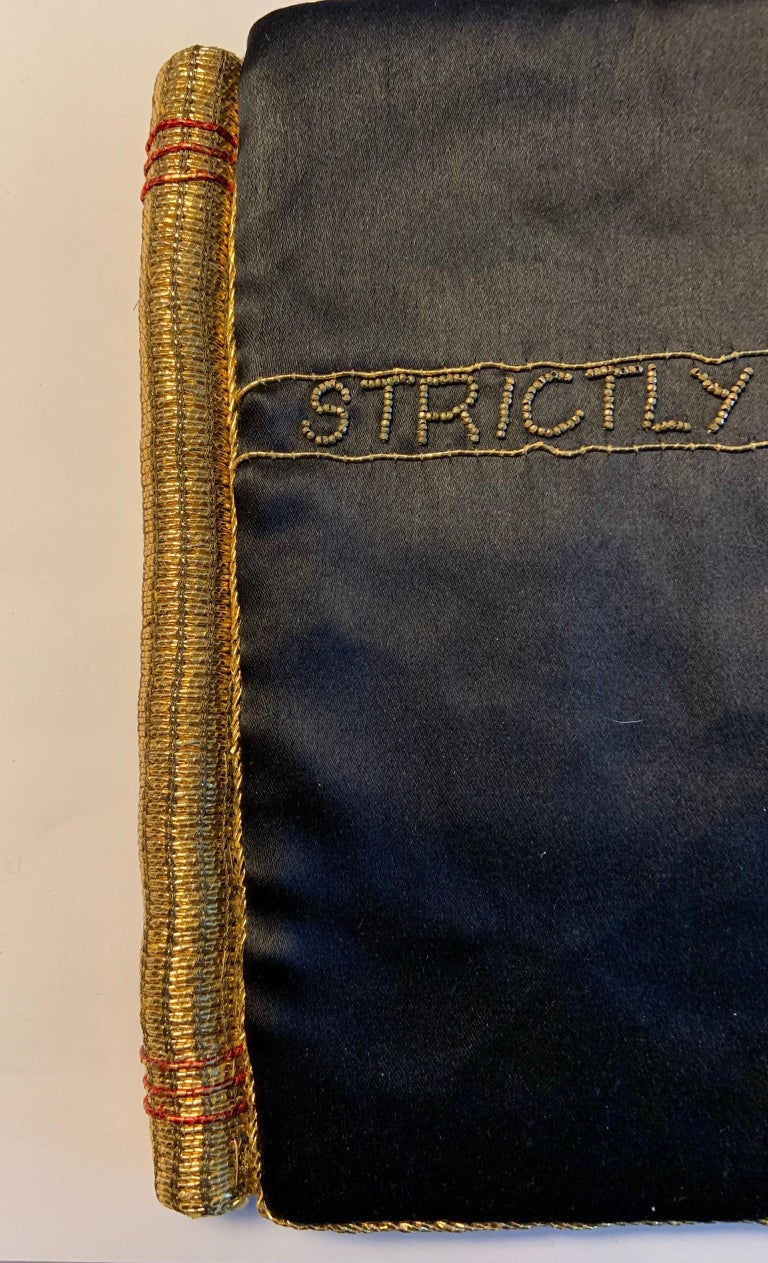 Strictly Personal Purse Black Satin and Gold Beads Shaped Like A Secret Diary  For Sale 1