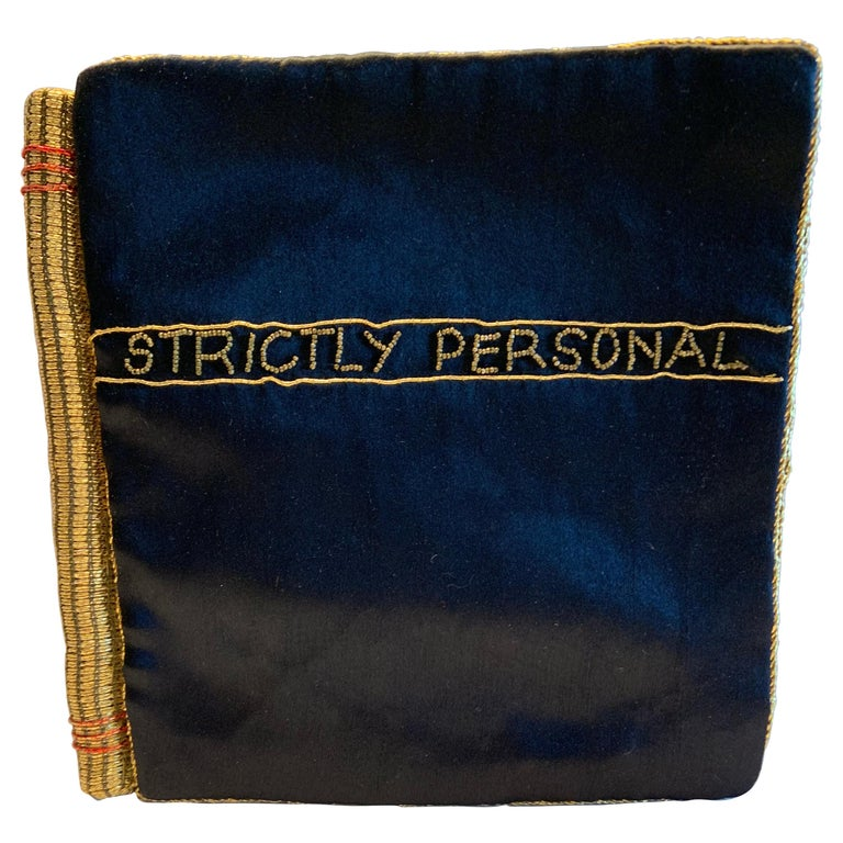 Strictly Personal Purse Black Satin and Gold Beads Shaped Like A Secret Diary  For Sale
