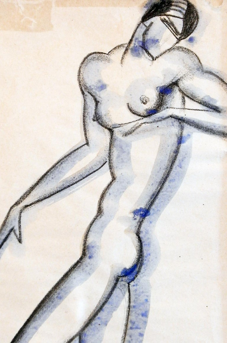 Quintessentially Art Deco, with long, lean lines and a highly stylized nude, this drawing was executed by Boris Lovet-Lorski in Paris, before he settled in America at the age of 26. Born in Lithuania and educated in Russia, the artist created