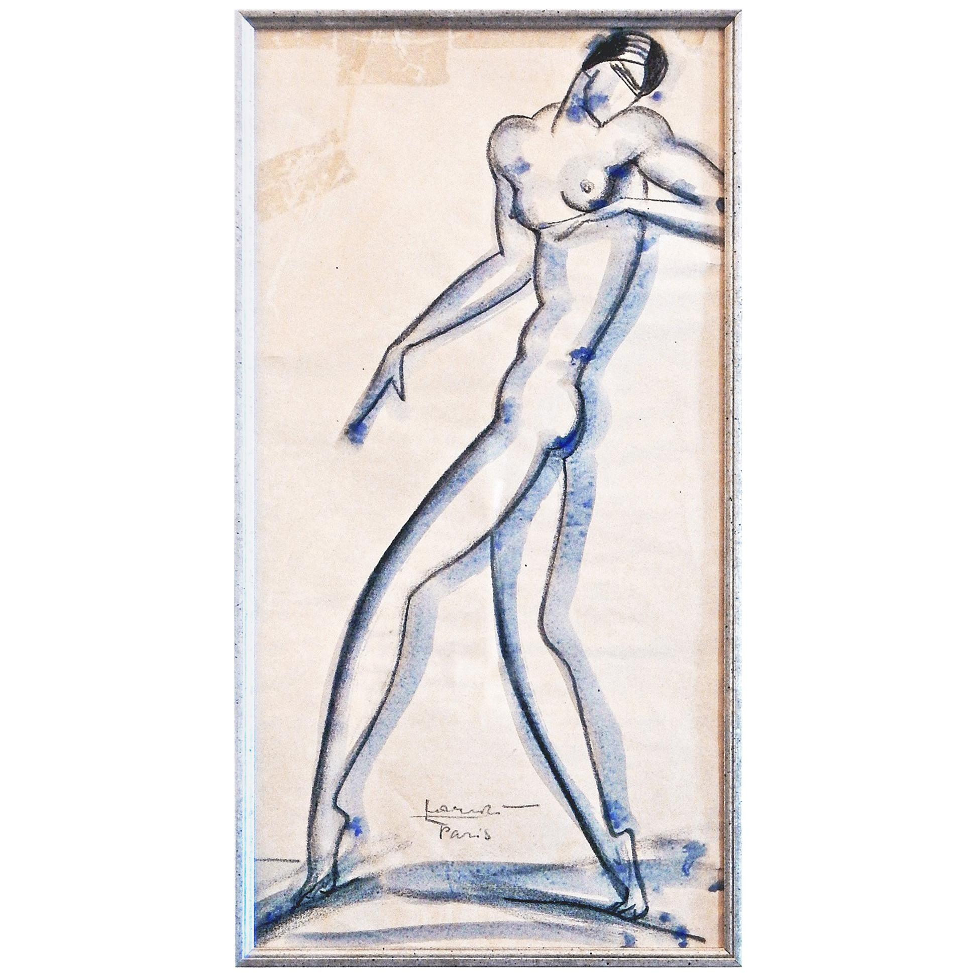 """""""Striding Nude,"""" Bold Art Deco Drawing with Watercolor by Lovet-Lorski"""