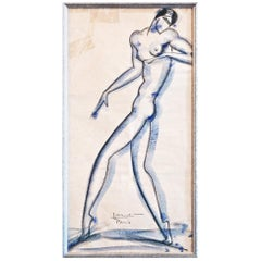 """Striding Nude,"" Bold Art Deco Drawing with Watercolor by Lovet-Lorski"