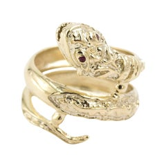 Striking 14 Karat Yellow Gold Double Wrap Coiled Snake Ring with Ruby Eyes