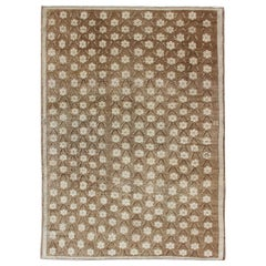 Striking 1940s Turkish Konya Rug with Flower Motifs in Brown and Cream
