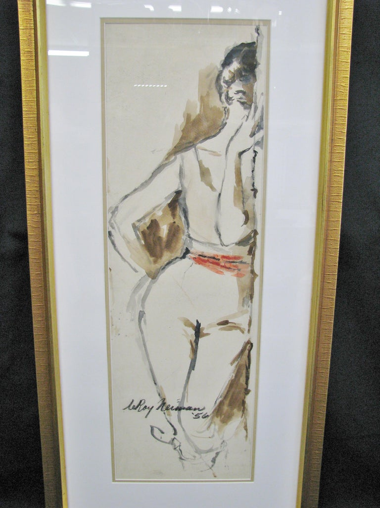 Exceptionally nice original watercolor by Leroy Neiman. Beautifully rendered woman peering around the side of a doorway. The cream, heavy textured paper stock perfectly sets off the muted palette - browns, charcoal and black. This, in turn, is the