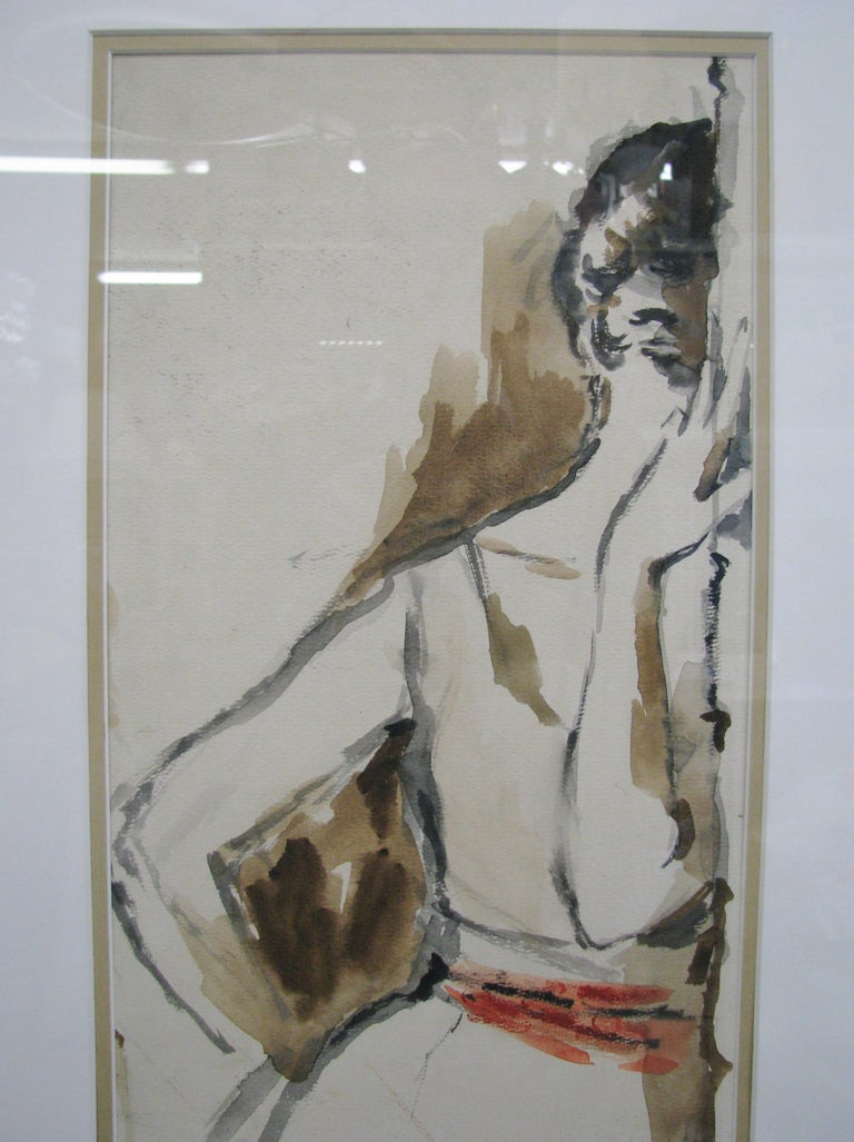 American Striking 1950s Watercolor of a Woman by Leroy Neiman; Signed and Dated For Sale