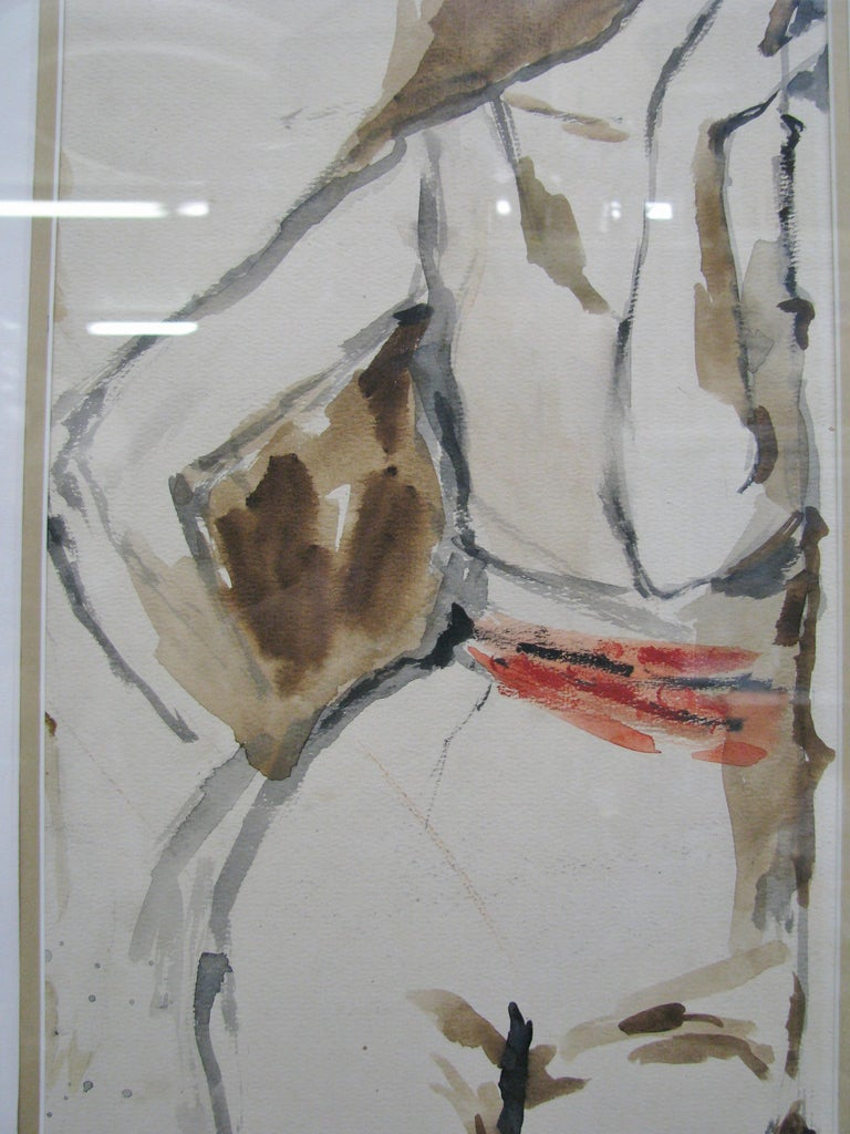 Striking 1950s Watercolor of a Woman by Leroy Neiman; Signed and Dated In Excellent Condition For Sale In Geneva, IL
