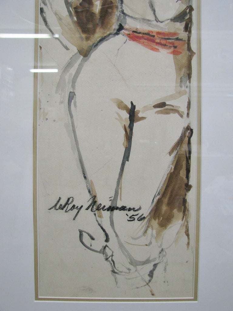 Mid-20th Century Striking 1950s Watercolor of a Woman by Leroy Neiman; Signed and Dated For Sale
