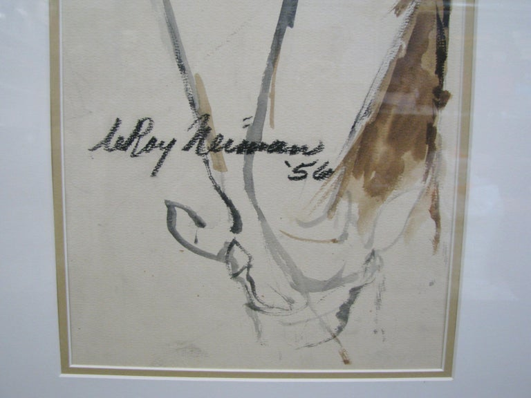 Paint Striking 1950s Watercolor of a Woman by Leroy Neiman; Signed and Dated For Sale