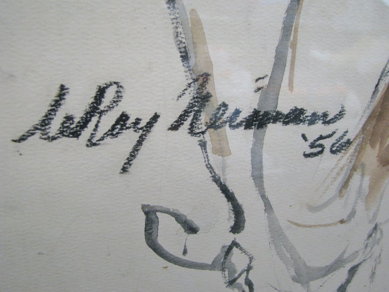 Striking 1950s Watercolor of a Woman by Leroy Neiman; Signed and Dated For Sale 1