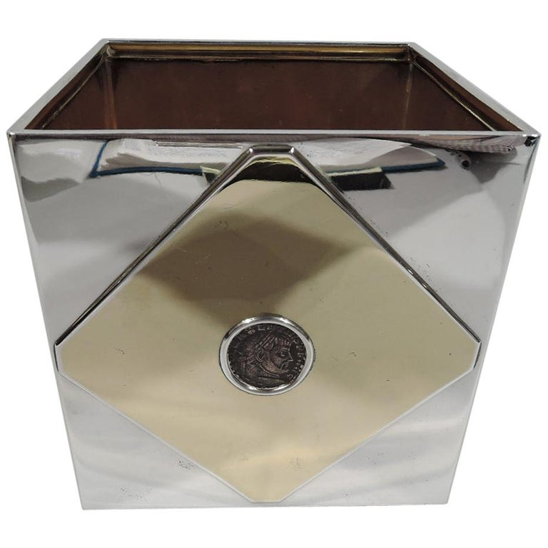 Striking 1970s Bulgari Modern Silver Box with Ancient Roman Coins For Sale