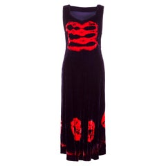 Striking 1970s Does 1940s Purple & Red Velvet Tie-Dye Boho Dress