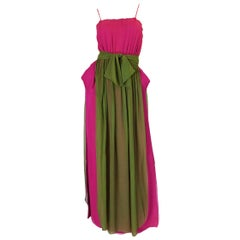 Striking 1970s James Galanos Pink Silk Chiffon Dress w Overlay