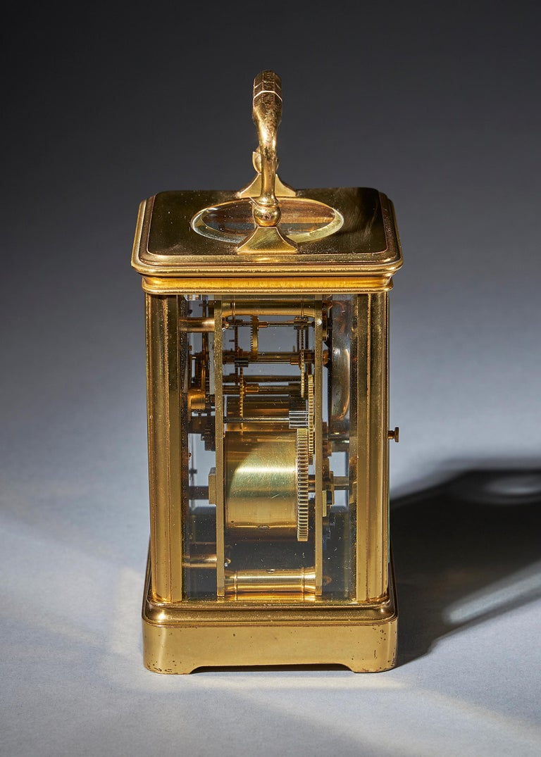 Neoclassical Striking 19th Century Carriage Clock with a Gilt-Brass Corniche Case by Grohé For Sale