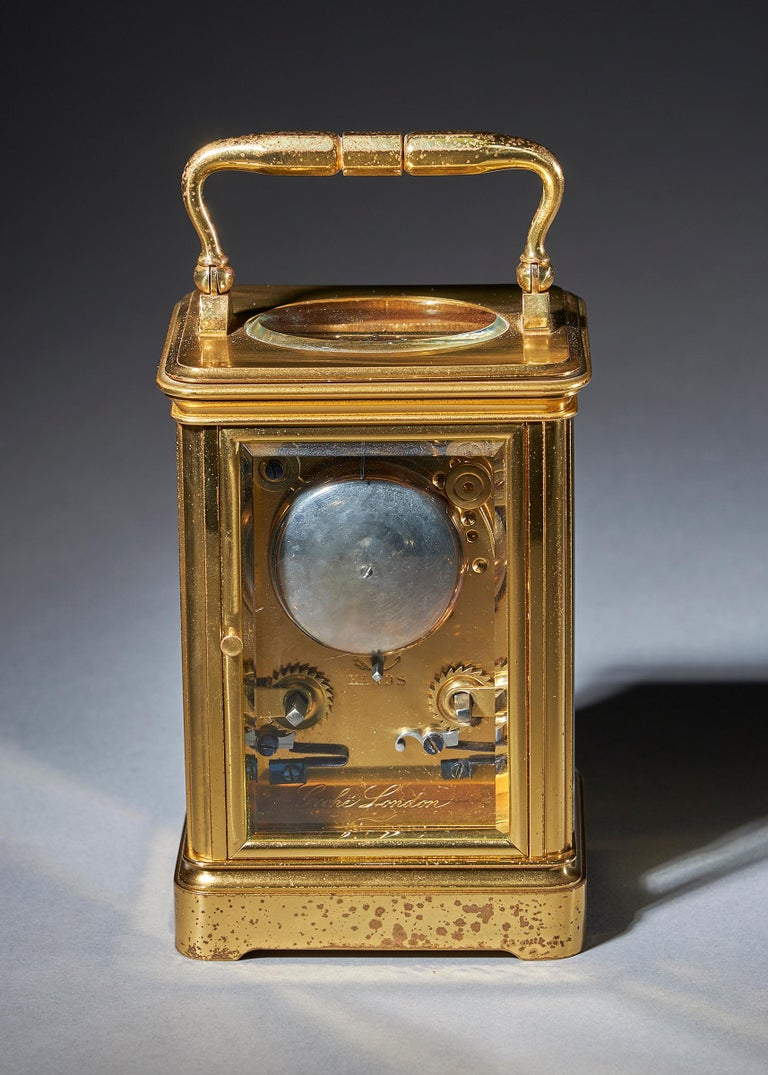 French Striking 19th Century Carriage Clock with a Gilt-Brass Corniche Case by Grohé For Sale