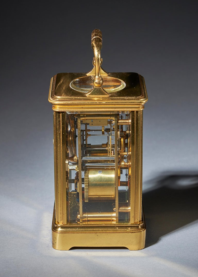 Striking 19th Century Carriage Clock with a Gilt-Brass Corniche Case by Grohé In Good Condition For Sale In Buscot, Oxfordshire