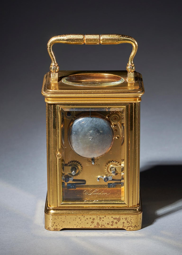 Striking 19th Century Carriage Clock with a Gilt-Brass Corniche Case by Grohé For Sale 1