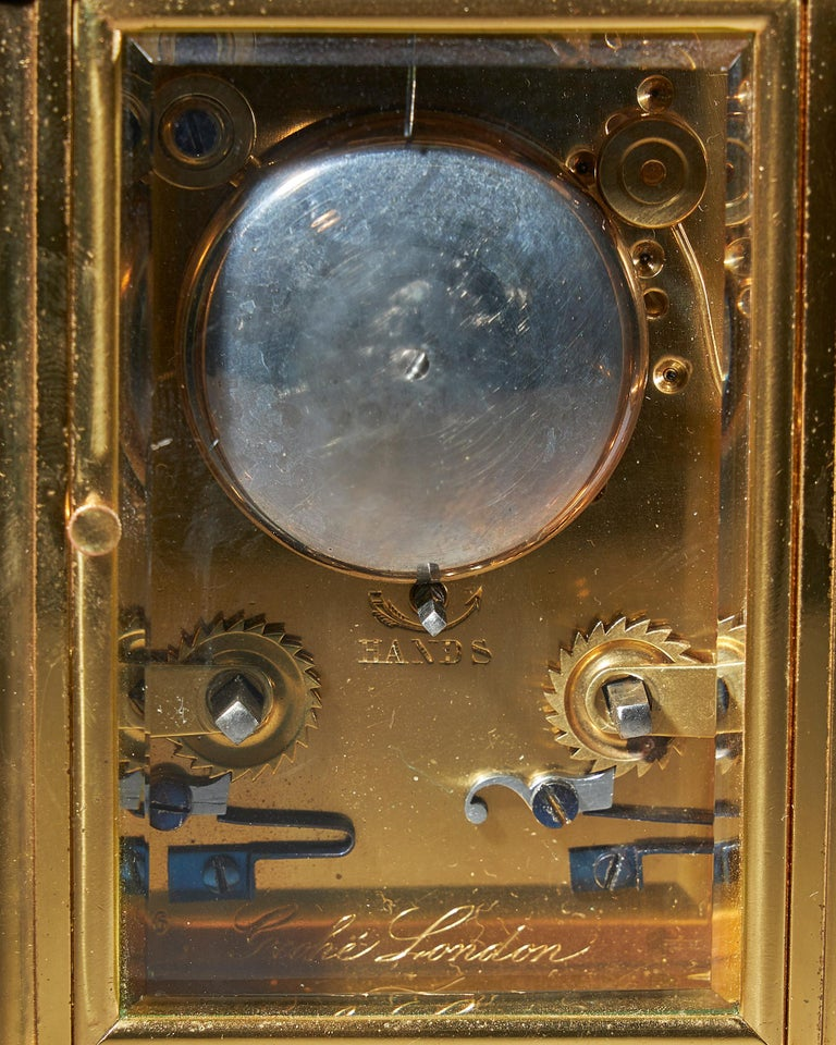 Striking 19th Century Carriage Clock with a Gilt-Brass Corniche Case by Grohé For Sale 2