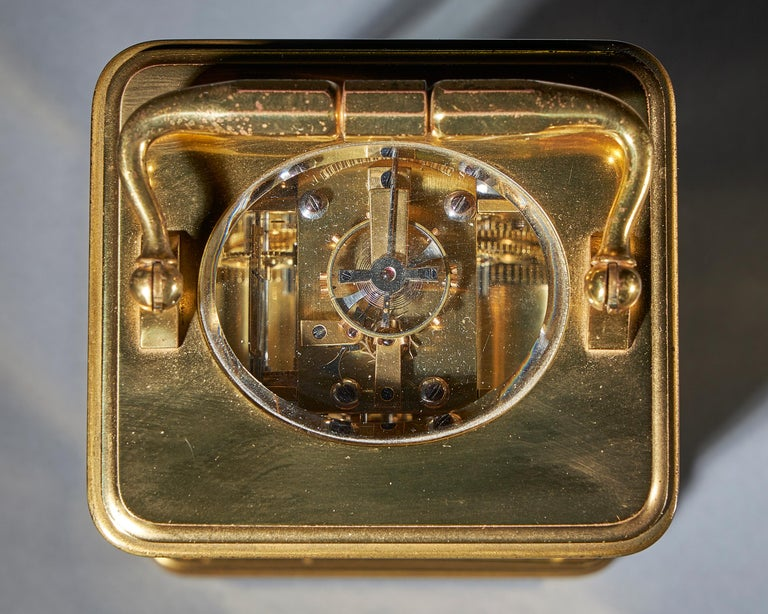 Striking 19th Century Carriage Clock with a Gilt-Brass Corniche Case by Grohé For Sale 3