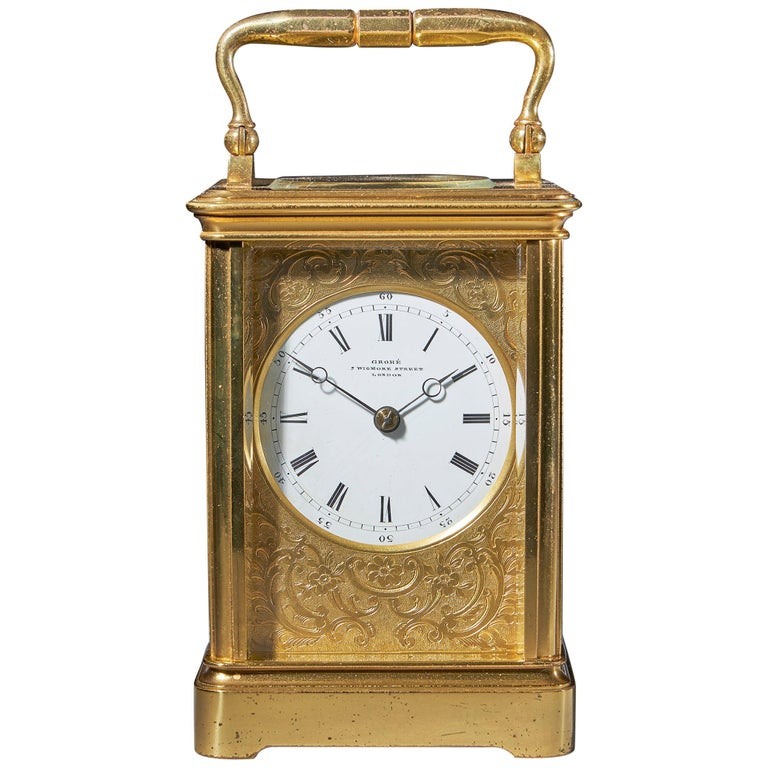 Striking 19th Century Carriage Clock with a Gilt-Brass Corniche Case by Grohé For Sale