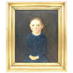 Striking 19th Century Oil on Kansas of a Little Girl