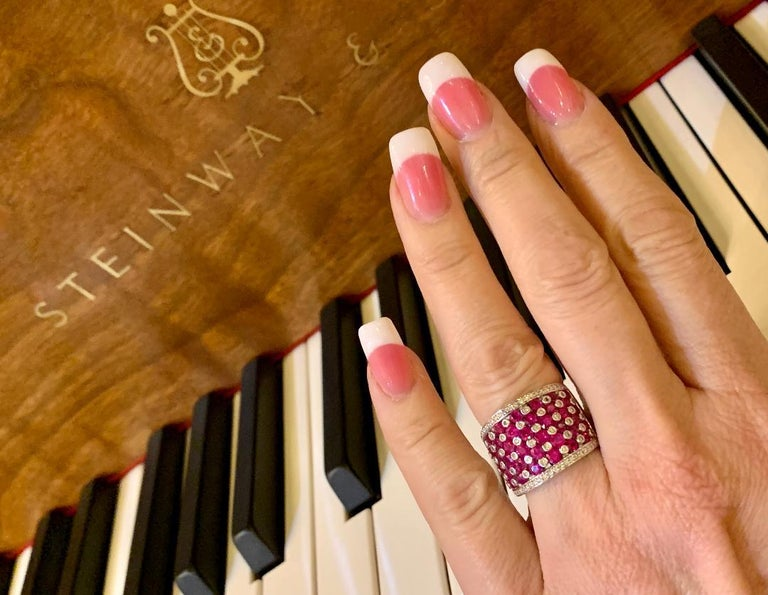 Striking 4.32 Carat EFFY Ruby and Diamond Checkerboard White Gold Wide Band Ring In Excellent Condition For Sale In Tustin, CA