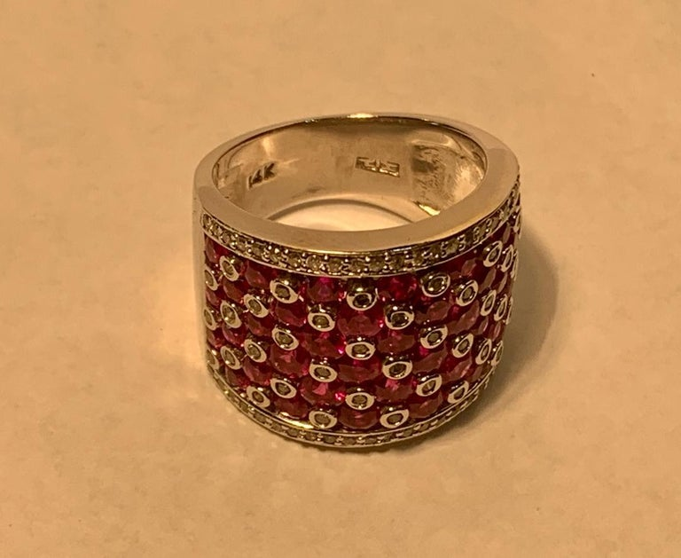 Women's Striking 4.32 Carat EFFY Ruby and Diamond Checkerboard White Gold Wide Band Ring For Sale