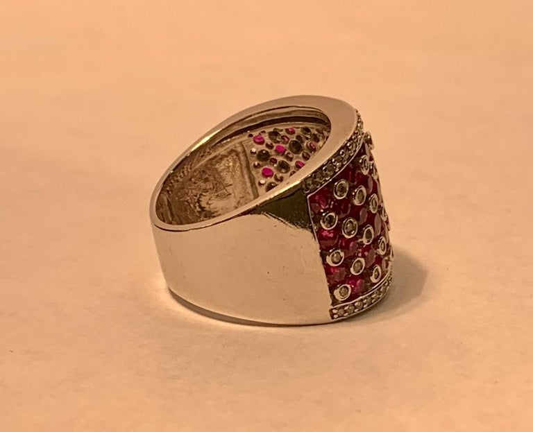 Striking 4.32 Carat EFFY Ruby and Diamond Checkerboard White Gold Wide Band Ring For Sale 1