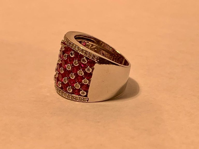 Striking 4.32 Carat EFFY Ruby and Diamond Checkerboard White Gold Wide Band Ring For Sale 2