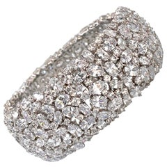 Striking All-around Encrusted Cubic Zirconia Sterling Silver Cuff Bracelet