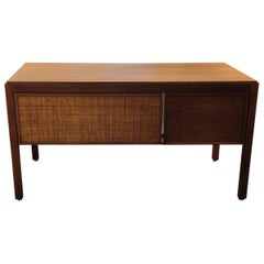 Striking American Walnut and Cane Midcentury Desk