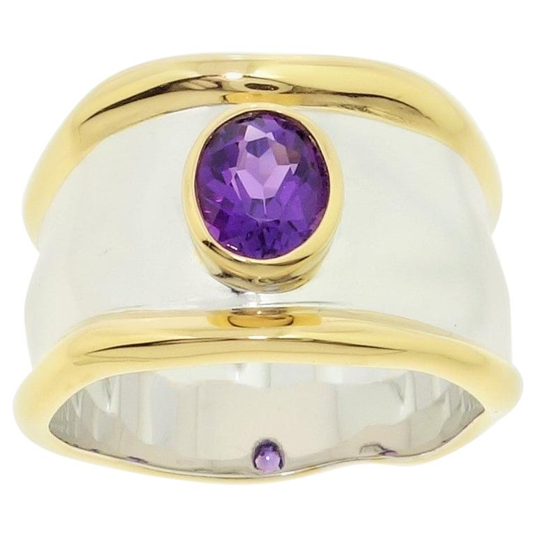 Striking Amethyst Solitaire Cocktail Sterling Silver Ring Estate Fine Jewelry