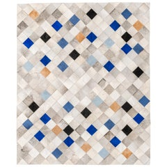 Striking and Unique Falling Squares Blue Cowhide Area Floor Rug Small